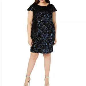 Calvin Klein Navy Sequin Scoop Back Dress 22W
